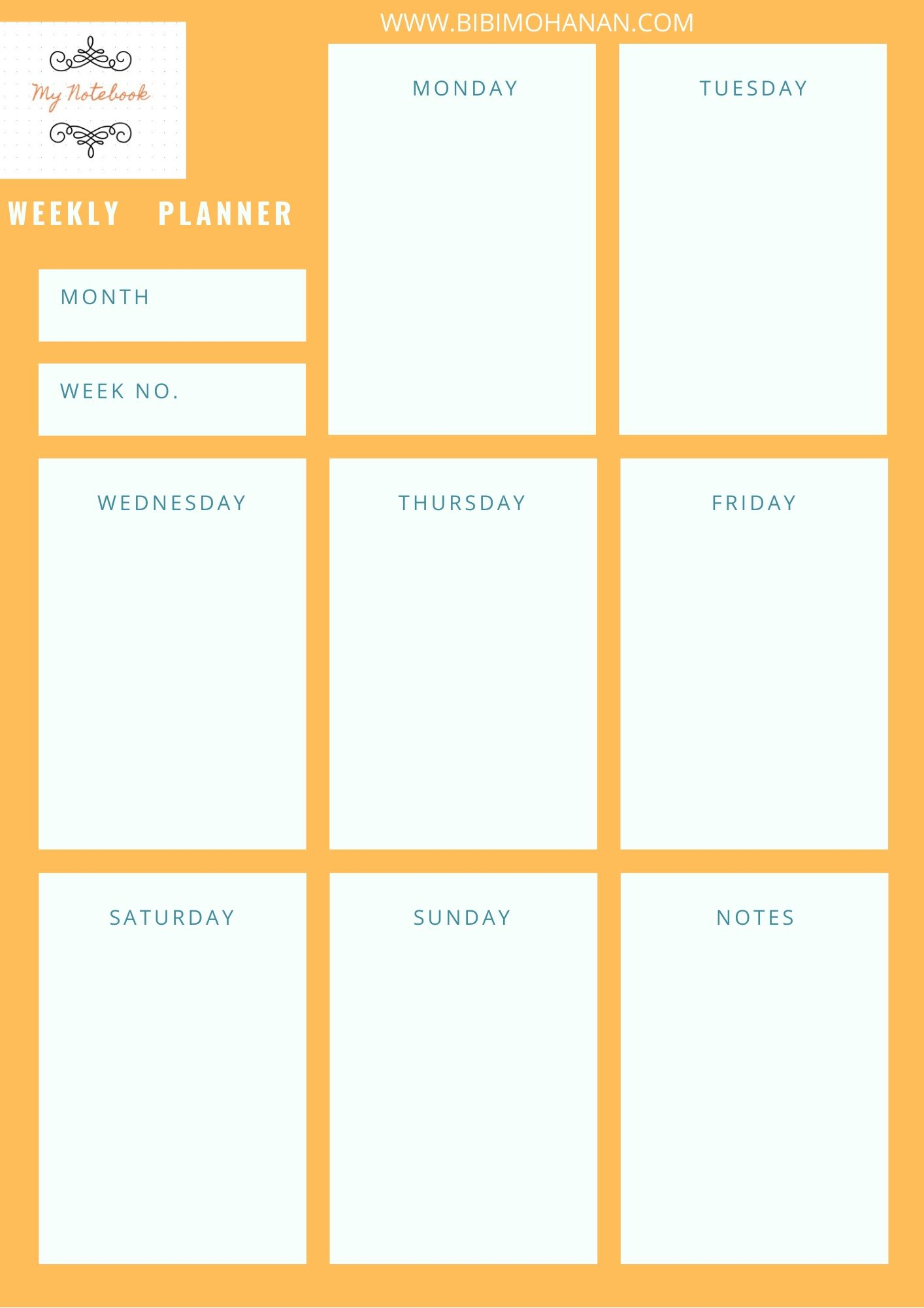 Weekly Study planner